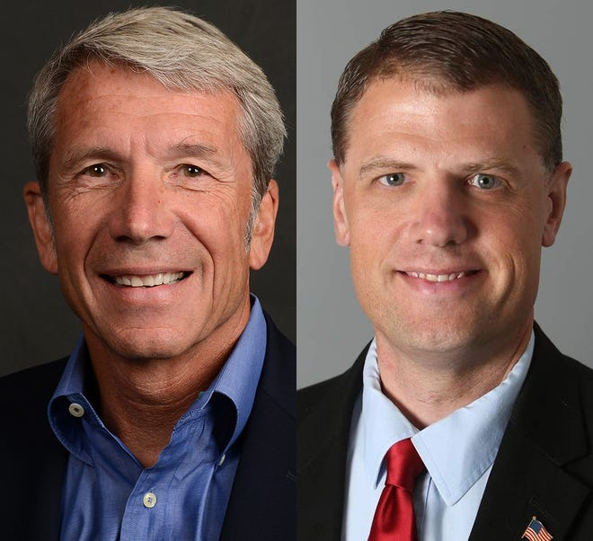 From left, incumbent U.S. Rep. Kurt Schrader and Republican challenger Mark Callahan.