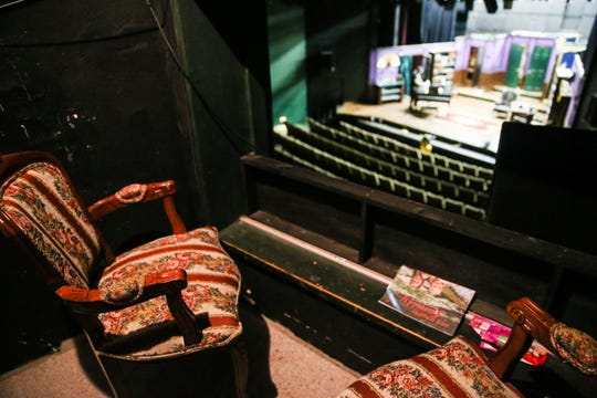 """Seats overlook the stage at a booth nicknamed the """"Lincoln Booth"""" near the control room Thursday, Oct. 4, 2018, at the San Angelo Civic Theater."""