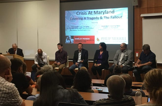 Panelists at an event sponsored by the Shirley Povich Center for Sports Journalism at the University of Maryland's Philip Merrill College of Journalism discuss the media coverage of Maryland football player Jordan McNair's death. From left: Washington Post columnist and Maryland professor Kevin Blackistone, Diamondback sports editor James Crabtree-Hannigan, Washington Post writer Rick Maese, USA Today sports columnist Christine Brennan, Sporting News writer David Steele, and The Nation sports editor Dave Ziren.