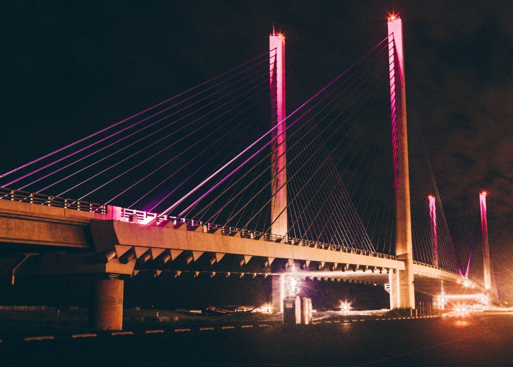 Indian River Inlet Bridge lit pink for breast cancer awareness