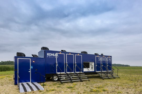 The Kohler Relief Trailer offers seven showering stalls in addition to a changing room and equipment room with washer and dryer for clothing.
