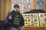 Paul Martinez and Amy Little remember Outlaw Tattoo shop owner Jody Little Tuesday, Oct. 2, at Outlaw Tattoo in Sioux Falls.