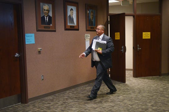 Stacy Phelps is on trial Thursday, Oct. 4, at Minnehaha County Clerk-Courts. Phelps, a former Gear Up grant administrator, faces charges of falsification of evidence and conspiracy to offer forged or fraudulent evidence.