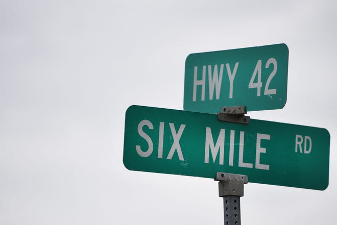 The intersection of Highway 42 and Six Mile road Thursday, Oct. 4, in Sioux Falls.