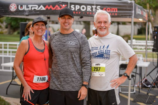 Care to Learn founder Doug Pitt will be present Saturday for the annual Drury Panther Run. This photo is from 2017. My running buddy Lynette Bellet Cummings and I might have suggested to Doug how much we love to kayak. I'm not sure. (Two kayaks and six beginner's mountain bikes will be raffled off Saturday.)
