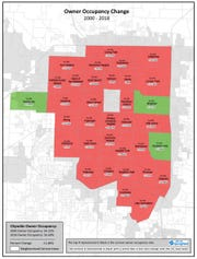 Map shows owner occupancy rates in Springfield neighborhoods.