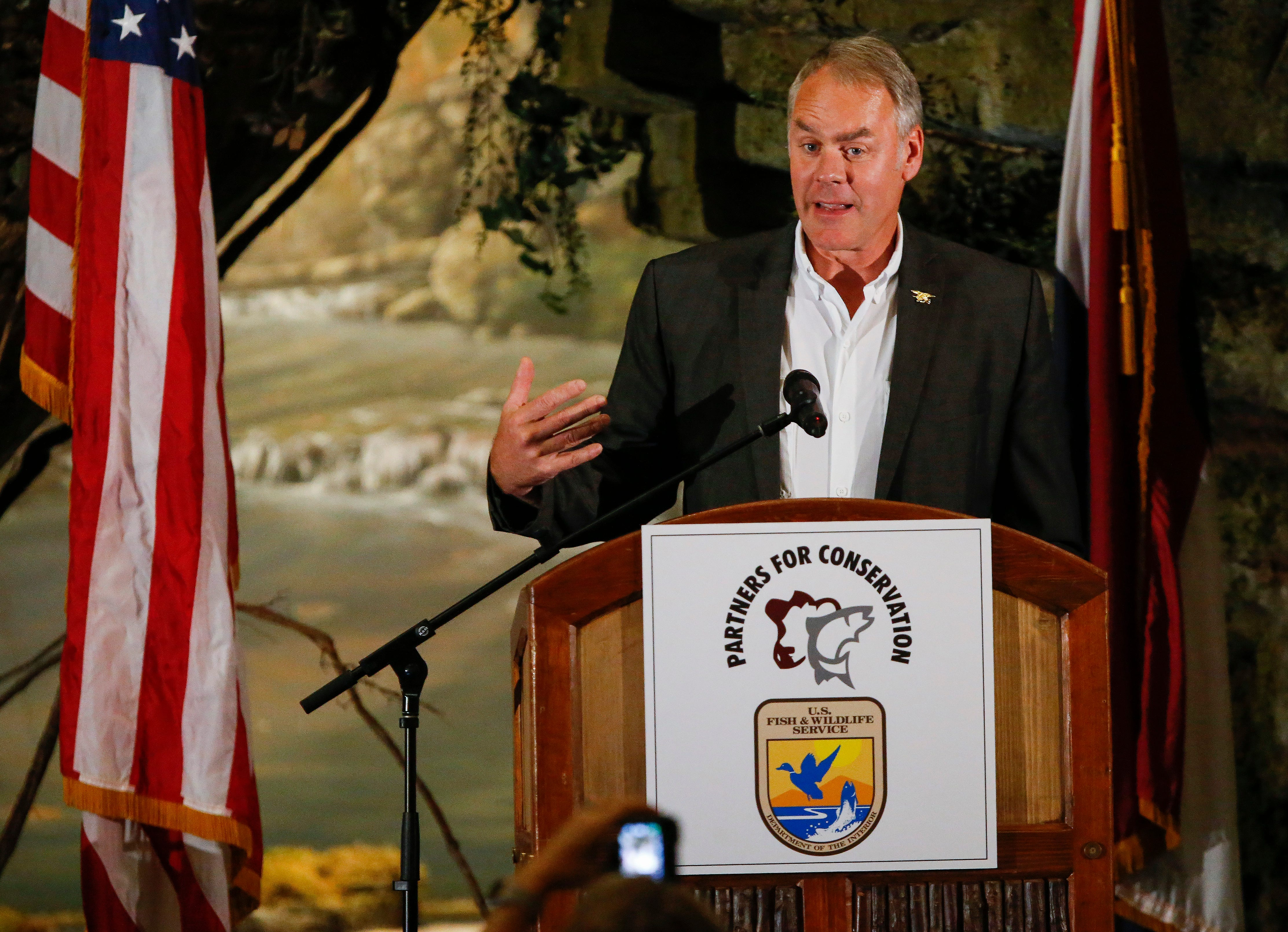 U.S. Secretary of the Interior Ryan Zinke speaks during the 11th Annual Private Lands Partners Day at the White River Conference Center on Thursday, Oct. 4, 2018.