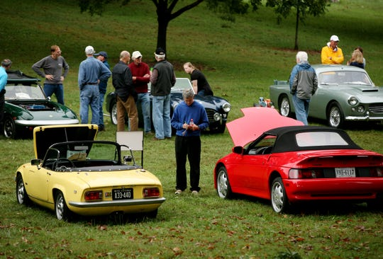 A crowd forms at the Shenandoah Valley British Car Club's annual British Car Show at Ridgeview Park in Waynesboro in 2016, where a wide variety of cars ranging from MGs to Triumphs to Lotus models were on display.