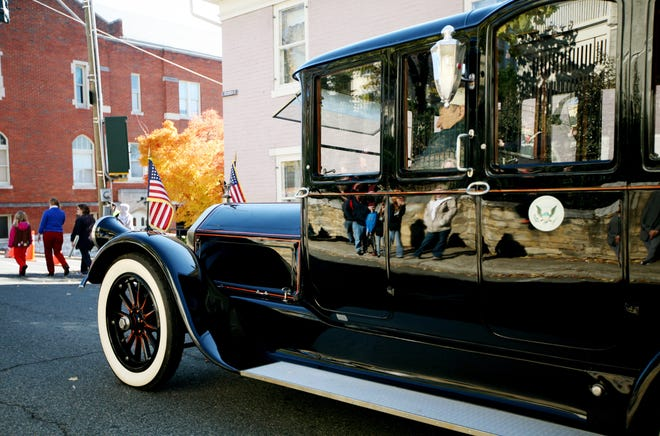 President Woodrow Wilson's 1919 Pierce-Arrow Series 51 limousine rolls down the street in the Staunton Veterans Day parade in 2013. The restored automobile is on display at the Woodrow Wilson Presidential Library and Museum.