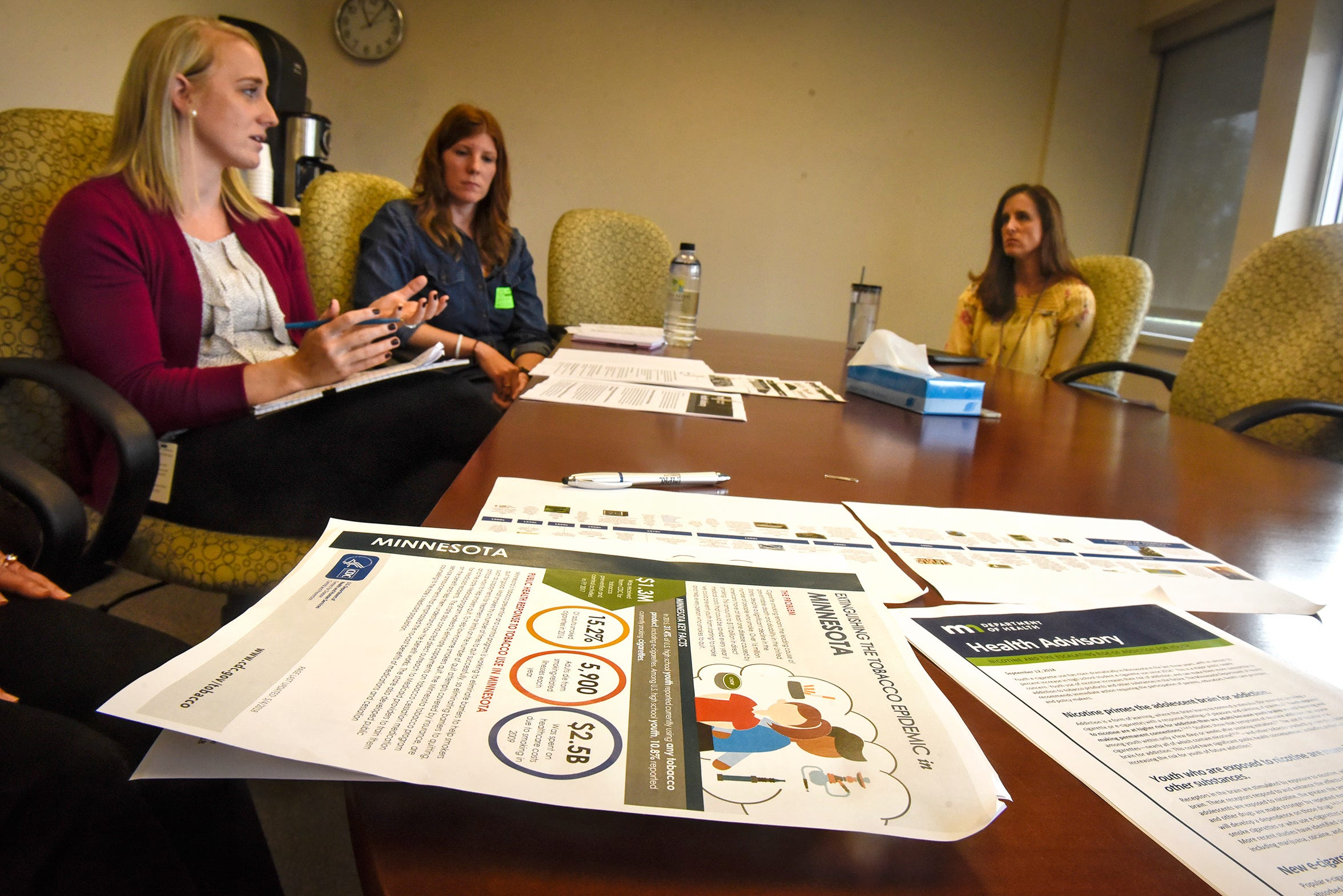 From right to left, Danielle Protivinsky, Jennifer Wald and Jennifer Kenning talk about the dangers of vaping by teenagers during an interview Thursday, Sept. 25, in Sauk Rapids.