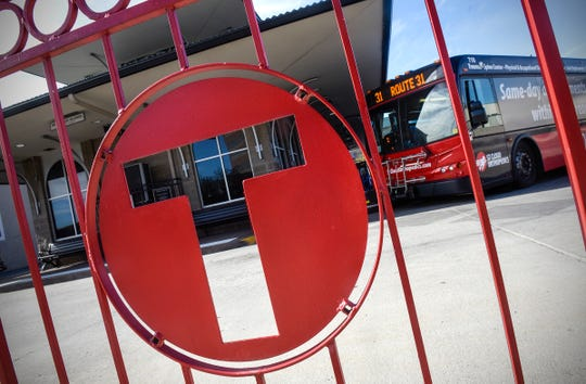Buses line up to take on passengers Thursday, Oct. 4, at the Metro Bus Transit Center in downtown St. Cloud.