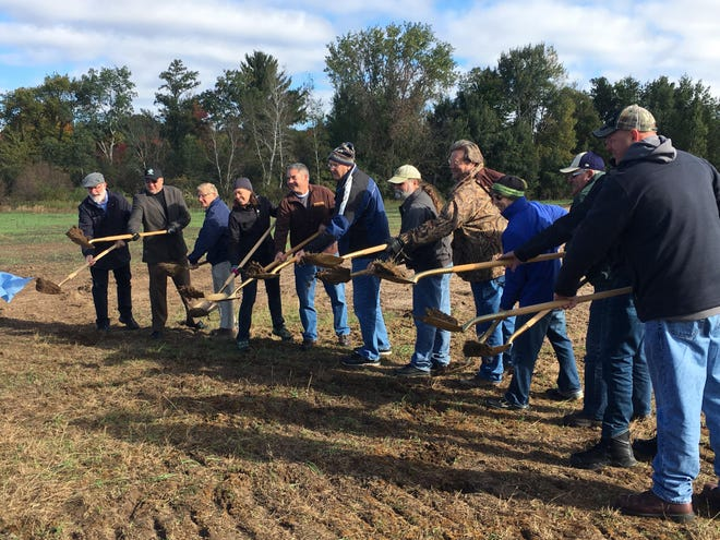 Project leaders break ground on the Little Plover River Watershed Enhancement Project Thursday, October 4.