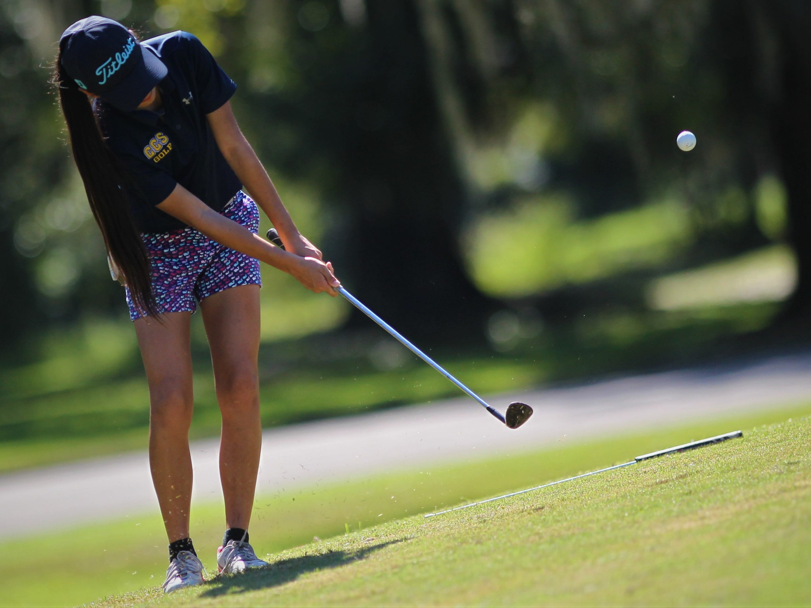 Community Christian eighth-grader Tynley Cotton chips onto the green during the girls golf Panhandle Invitational at Killearn Country Club, Oct. 4, 2018.