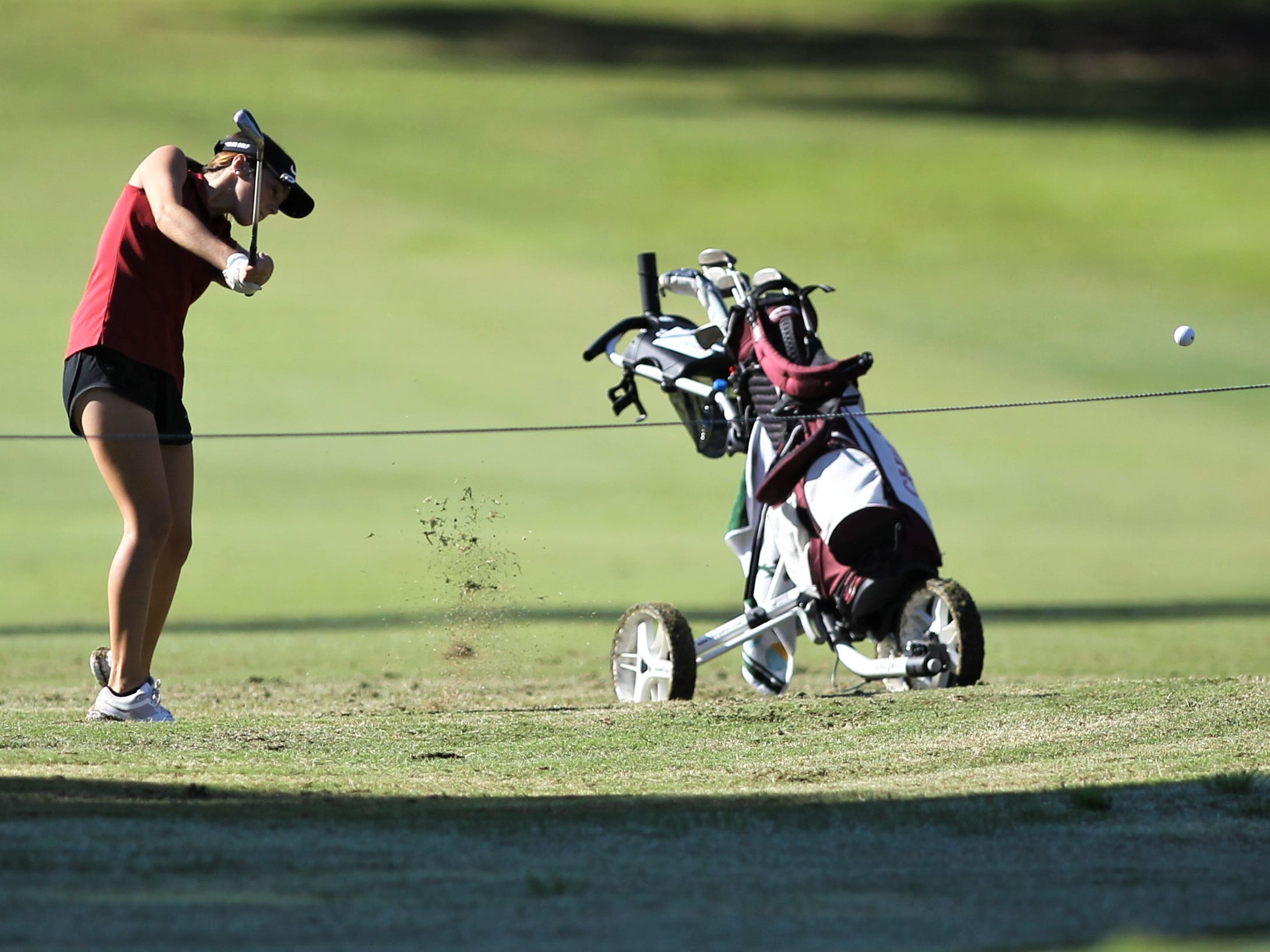 Chiles sophomore Abby LaMothe plays in the girls golf Panhandle Invitational at Killearn Country Club, Oct. 4, 2018.