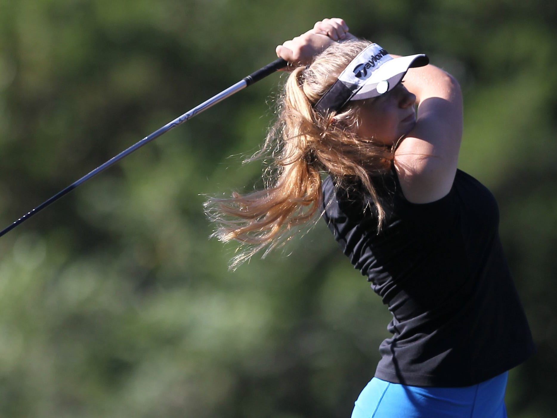 Franklin County senior Melanie Collins plays in the girls golf Panhandle Invitational at Killearn Country Club, Oct. 4, 2018.
