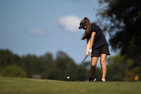 Community Christian eighth-grader Sabree Lefebvre tees off during the girls golf Panhandle Invitational at Killearn Country Club, Oct. 4, 2018.