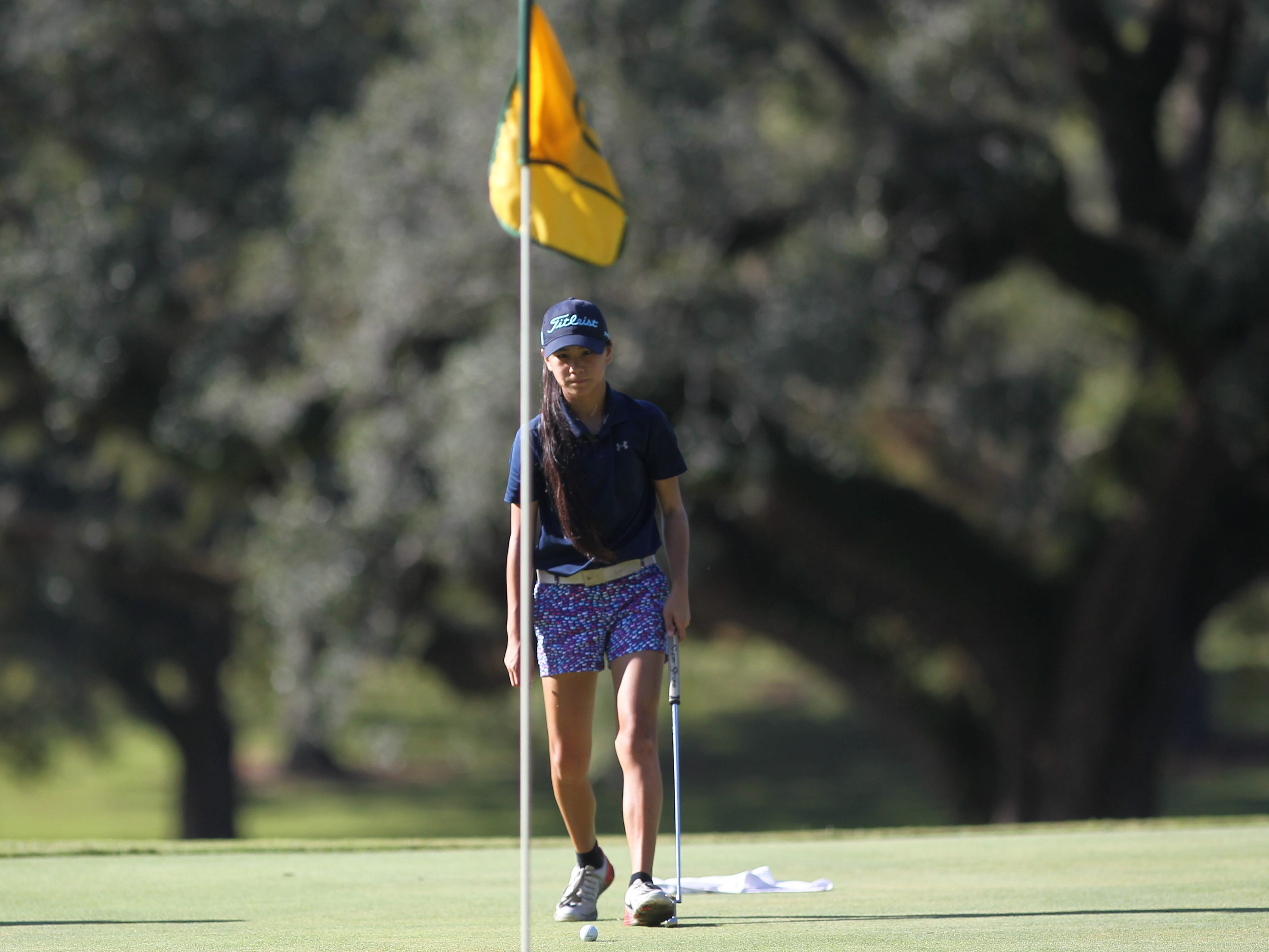 Community Christian eighth-grader Tynley Cotton plays in the girls golf Panhandle Invitational at Killearn Country Club, Oct. 4, 2018.