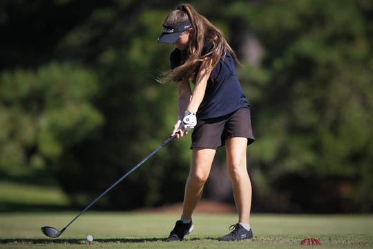 Community Christian eight-grader Sabree Lefebvre tees off during the girls golf Panhandle Invitational at Killearn Country Club, Oct. 4, 2018.