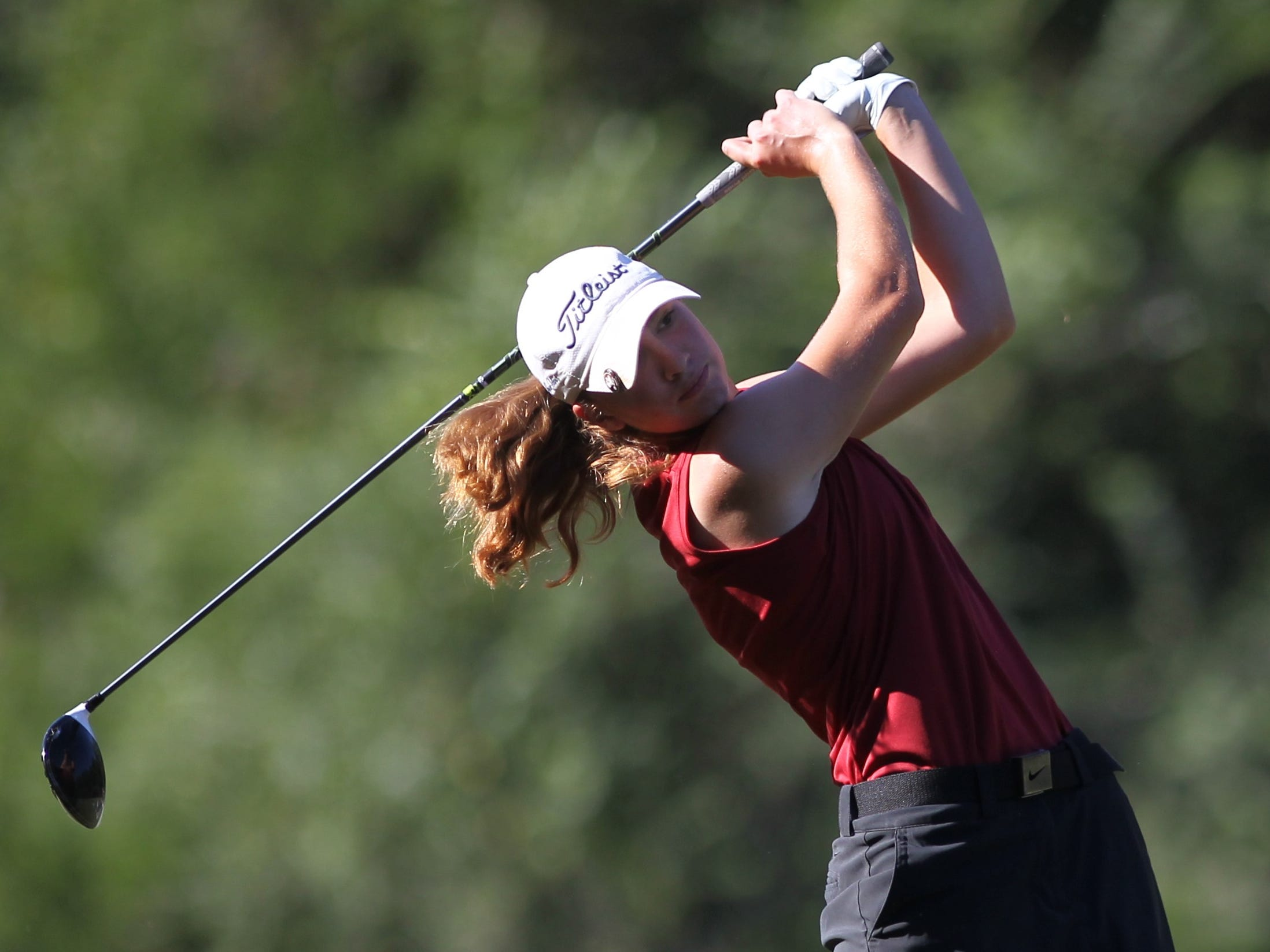 Chiles senior Mickela Helms plays in the girls golf Panhandle Invitational at Killearn Country Club, Oct. 4, 2018.