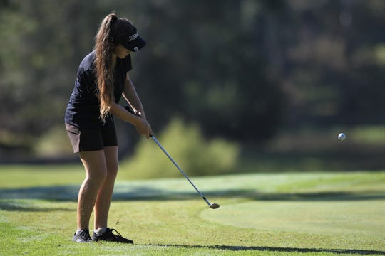 Community Christian eighth-grader Sabree Lefebvre plays in the girls golf Panhandle Invitational at Killearn Country Club, Oct. 4, 2018.