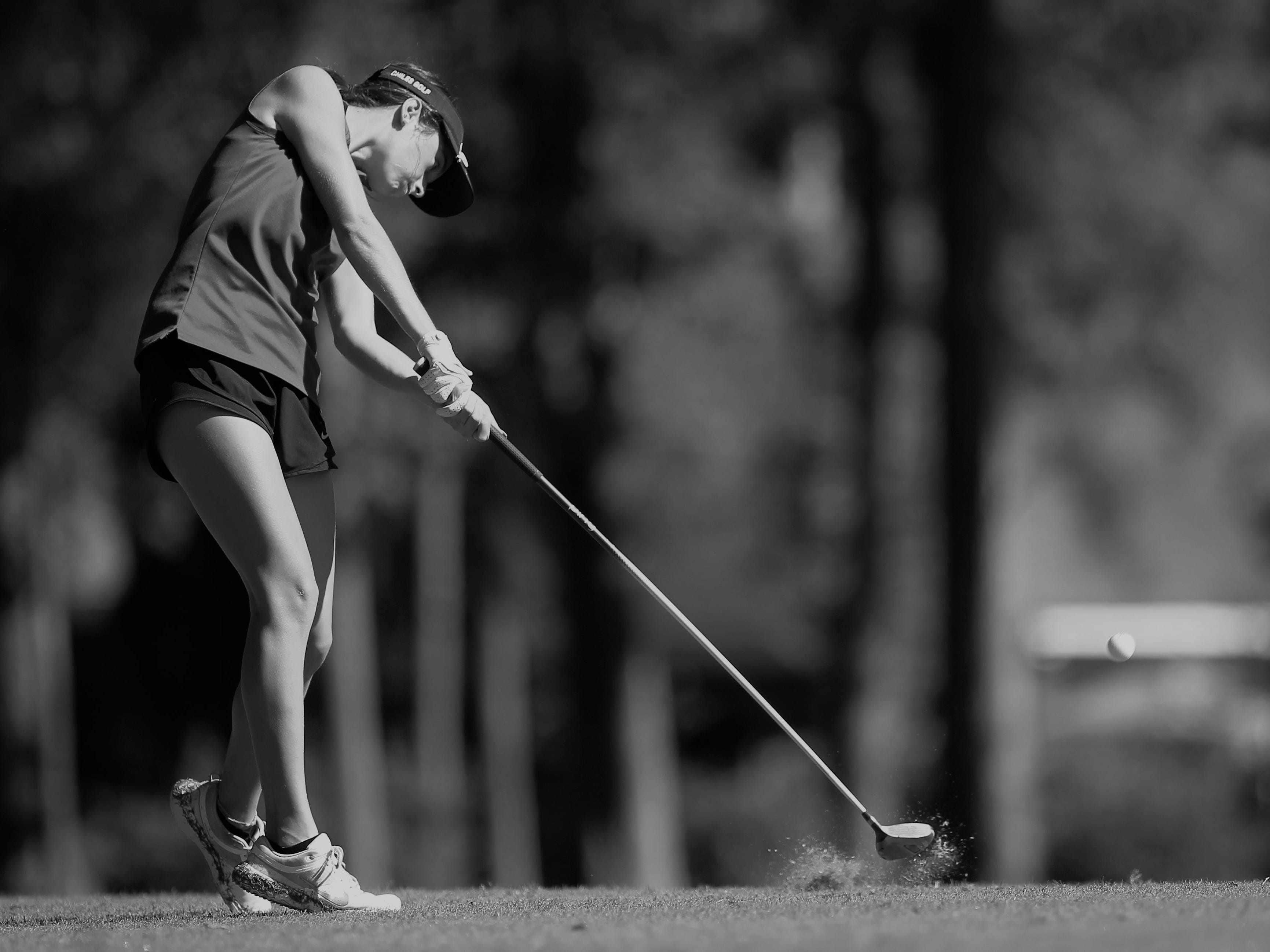 Chiles sophomore Abby LaMothe tees off during the girls golf Panhandle Invitational at Killearn Country Club, Oct. 4, 2018.
