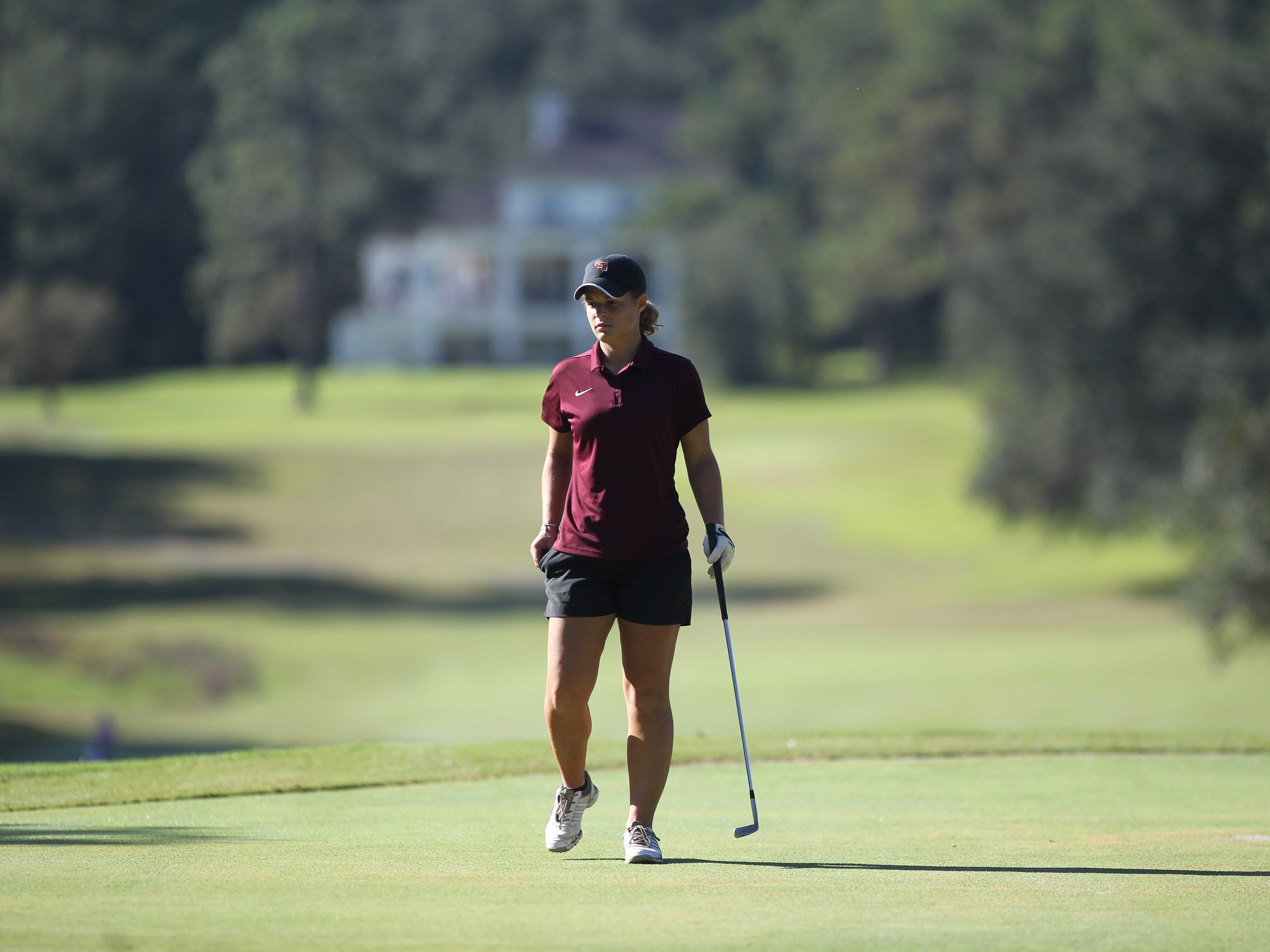 Florida High junior Savannah Bonn plays in the girls golf Panhandle Invitational at Killearn Country Club, Oct. 4, 2018.