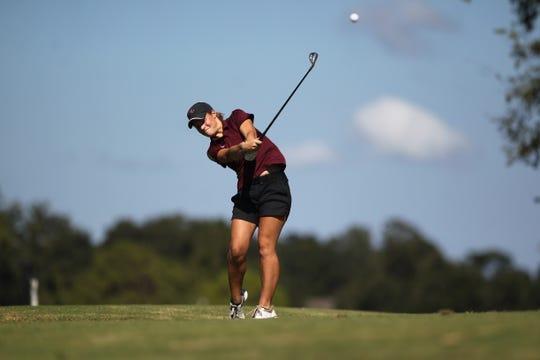 Florida High junior Savannah Bonn hits a tee shot during the girls golf Panhandle Invitational at Killearn Country Club, Oct. 4, 2018.