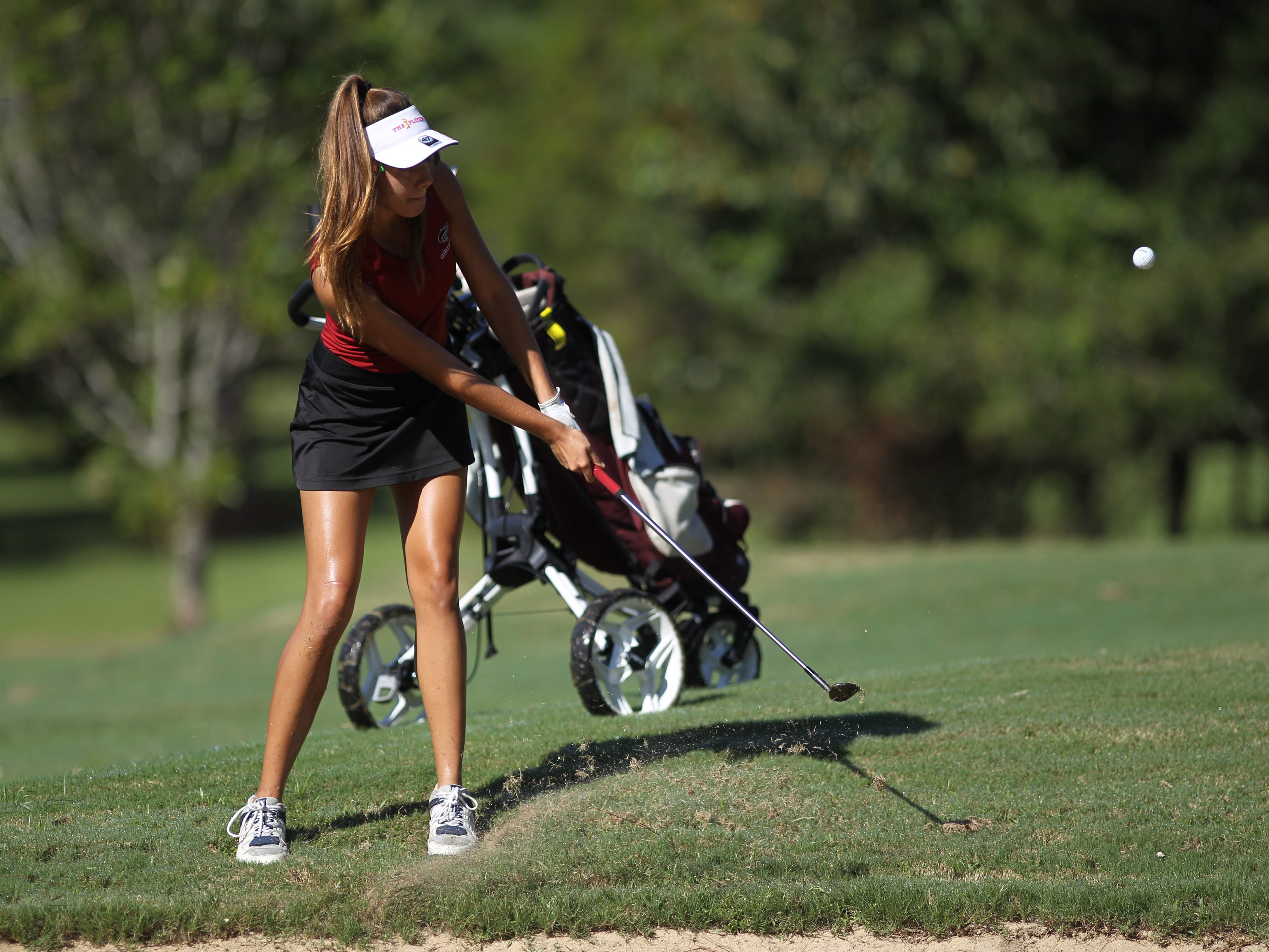 Chiles senior Demi Harville plays in the girls golf Panhandle Invitational at Killearn Country Club, Oct. 4, 2018.