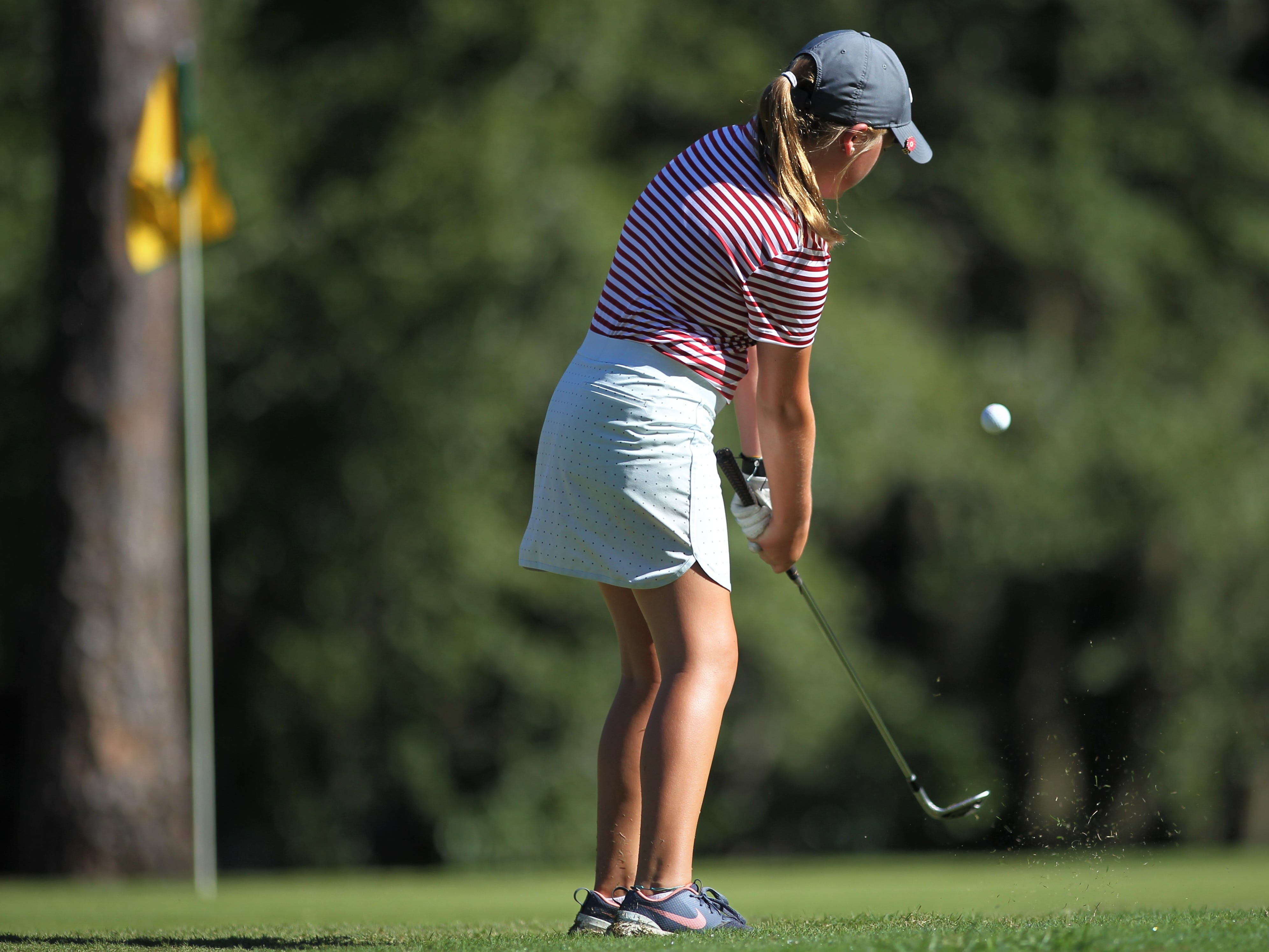 Munroe seventh-grader Ellie Jane Riner plays in the girls golf Panhandle Invitational at Killearn Country Club, Oct. 4, 2018.