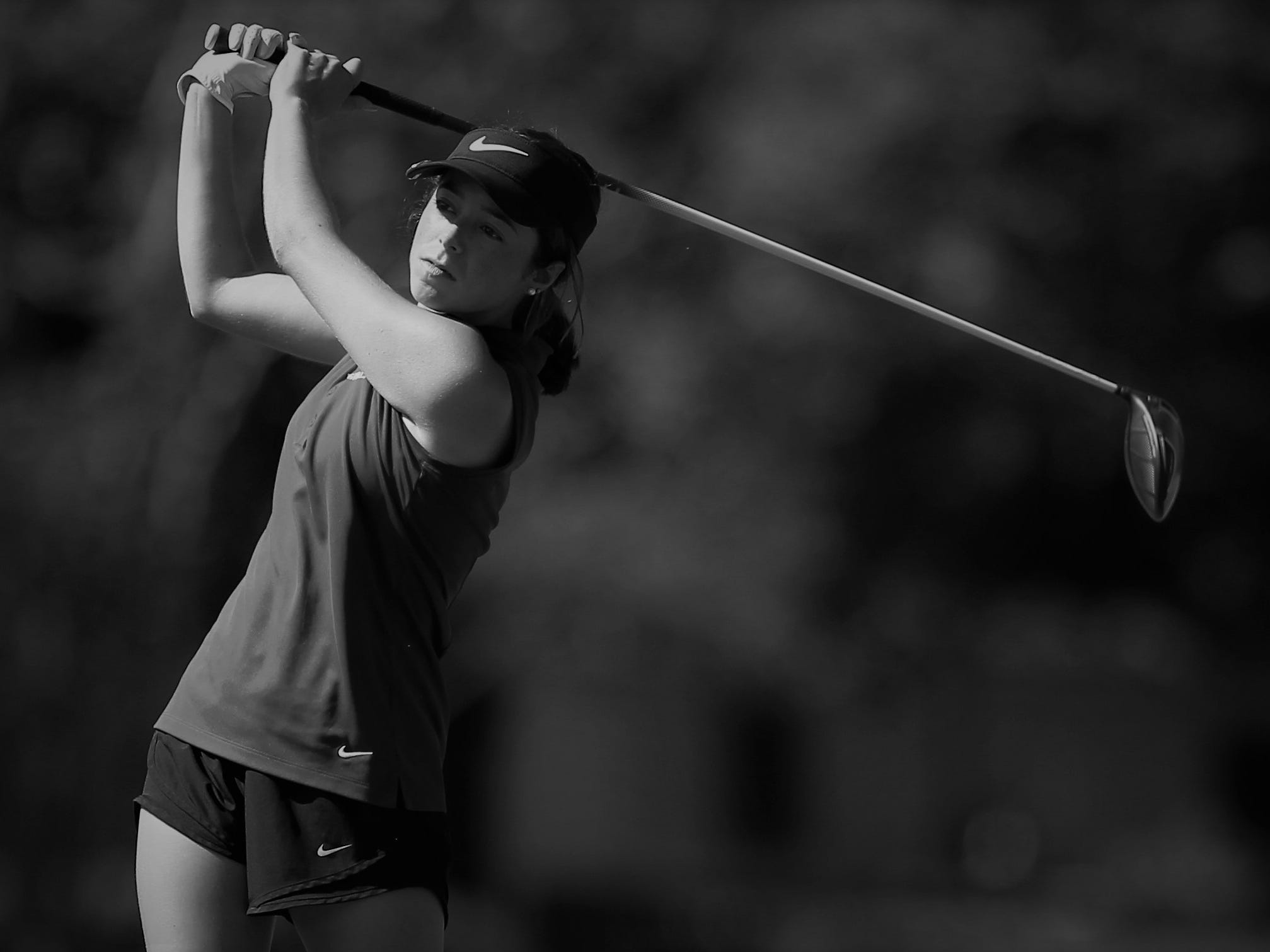 Chiles sophomore Abby LaMothe watches a tee shot during the girls golf Panhandle Invitational at Killearn Country Club, Oct. 4, 2018.