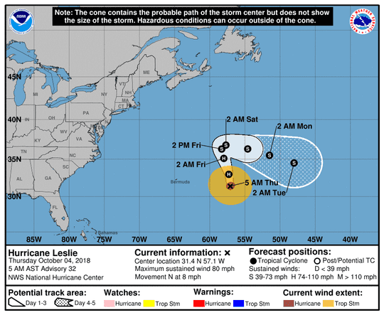 Hurricane Leslie 5 a.m. Oct. 4, 2018