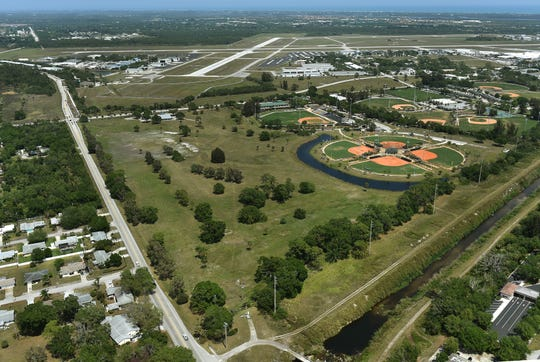 This aerial of the former Dodgertown Golf Club is seen alongside Historic Dodgertown, right, and the Vero Beach Regional Airport, background, on April 3, 2017, in Vero Beach.