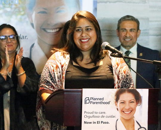 Miranda Aguirre, health center manager for the new El Paso Planned Parenthood facility, speaks at a news conference announcing the opening of the facility Thursday in Downtown El Paso.