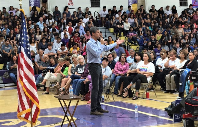 Democratic U.S. Rep. Beto O'Rourke speaks at a town hall meeting Thursday morning at the Burges High School gym in El Paso.