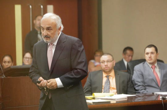 Defense attorney Joe Spencer speaks Thursday during the trial of Daniel Villegas, center, in the 409th District Court in El Paso.