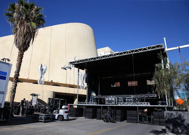A stage for the El Paso Street Festival goes up Thursday along San Antonio Avenue adjacent to the convention center and near the intersection with Santa Fe Street in Downtown.