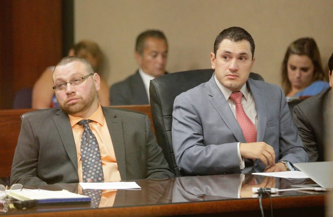 Daniel Villegas, left, listens Thursday during his trial in the 409th District Court in El Paso.