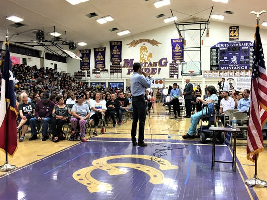 Democratic U.S. Rep. Beto O'Rourke speaks at Burges High School on Thursday at his 101st town hall meeting in El Paso since being elected to Congress.