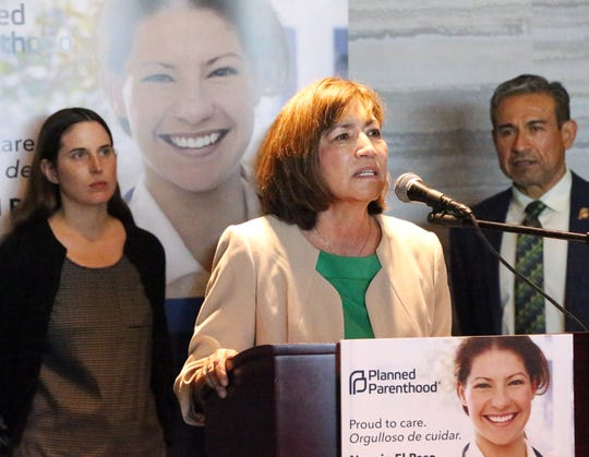 "State Rep. Evelina ""Lina"" Ortega speaks at a news conference announcing the opening of a Planned Parenthood facility in El Paso."