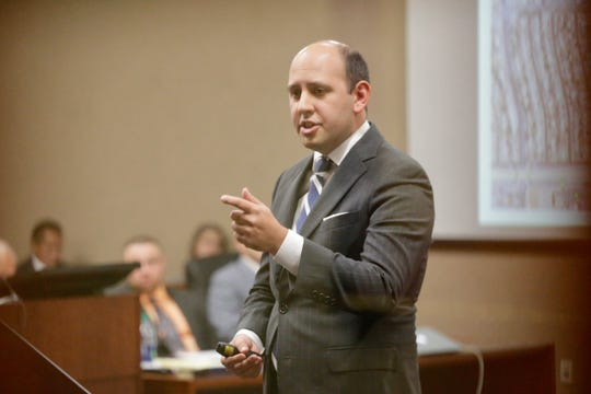 Prosecutor James Montoya speaks during the retrial of Daniel Villegas in the 409th District Court in El Paso.