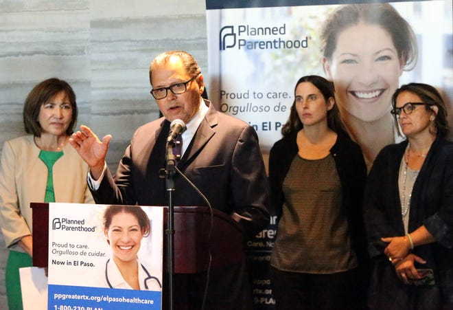 State Sen. Jose Rodriguez speaks at a press conference announcing the opening of a Planned Parenthood facility in El Paso.