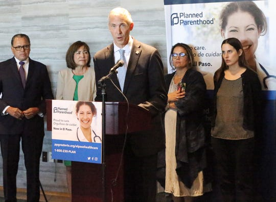Ken Lambrecht, president and CEO of Planned Parenthood of Greater Texas, announces the organization will reopen a facility in El Paso during a news conference at the Indigo Hotel in Downtown El Paso. Others on hand for the announcement were, from left: state Sen. José Rodríguez, state Rep. Lina Ortega, women's march El Paso organizer Lyda Ness-Garcia and nurse midwife Nikki Skrinak.