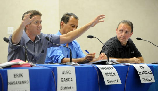 Ventura City Council candidates Spencer Noren (left), Ed Alamillo and Mike Marostica discuss issues during a forum Wednesday at Citrus Glen Elementary  School in Ventura. The forum was for candidates in Districts 4, 5 and 6.