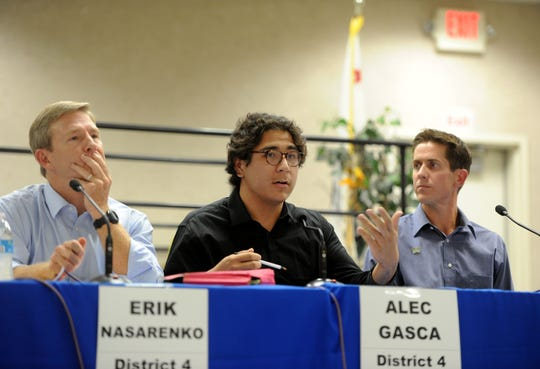 Ventura City Council candidates Erik Nasarenko (left), Alec Gasca and  Spencer Noren discuss issues during a forum for candidates in Districts 4, 5 and 6. The forum was held Wednesday in Ventura.
