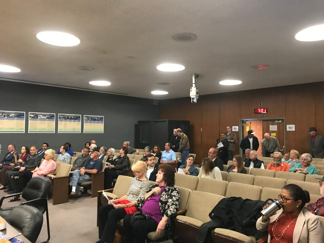 The Oxnard Council Chambers were about half filled at the start of the candidates forum on Wednesday.