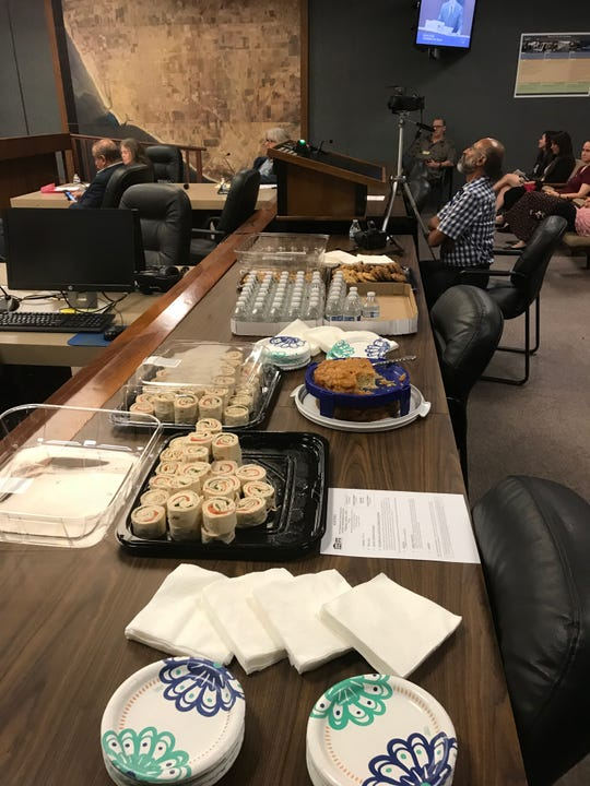 The Inter-Neighborhood Council Organization provided snacks for the candidates forum on Wednesday. Mayoral candidate Aaron Starr's wife, Alicia Percell, baked a cake.