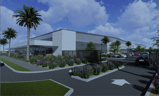Rendering shows a view of the proposed hangar building at the Camarillo Airport