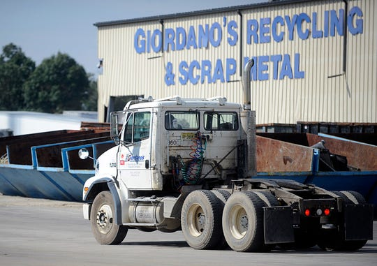 A Giordano's Recycling truck on North Mill Road in Vineland pictured here on Thursday, October 4, 2018.