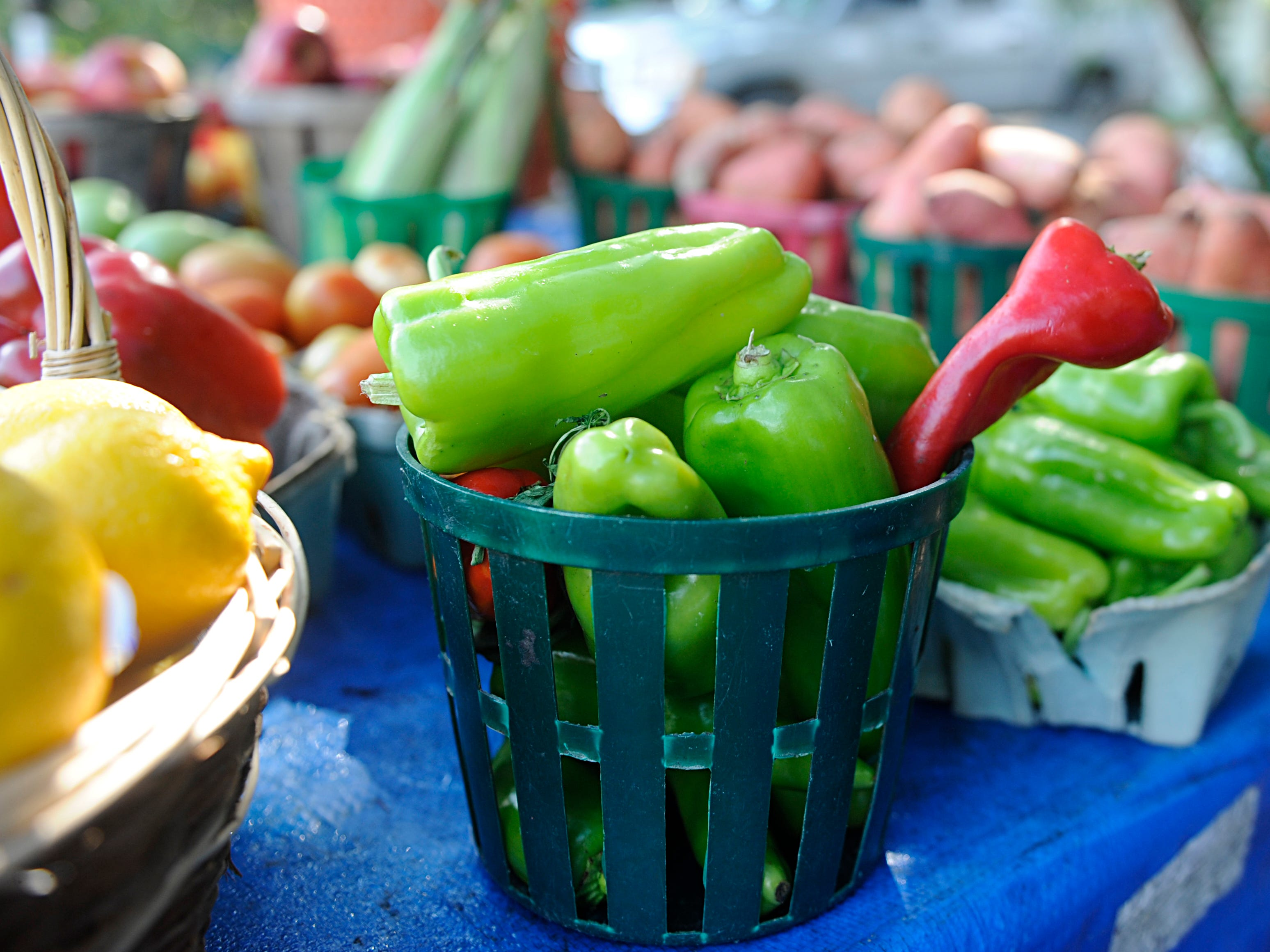 Fresh peppers on display at Dennis Santaniello's roadside farm market on Oak Road in Vineland.