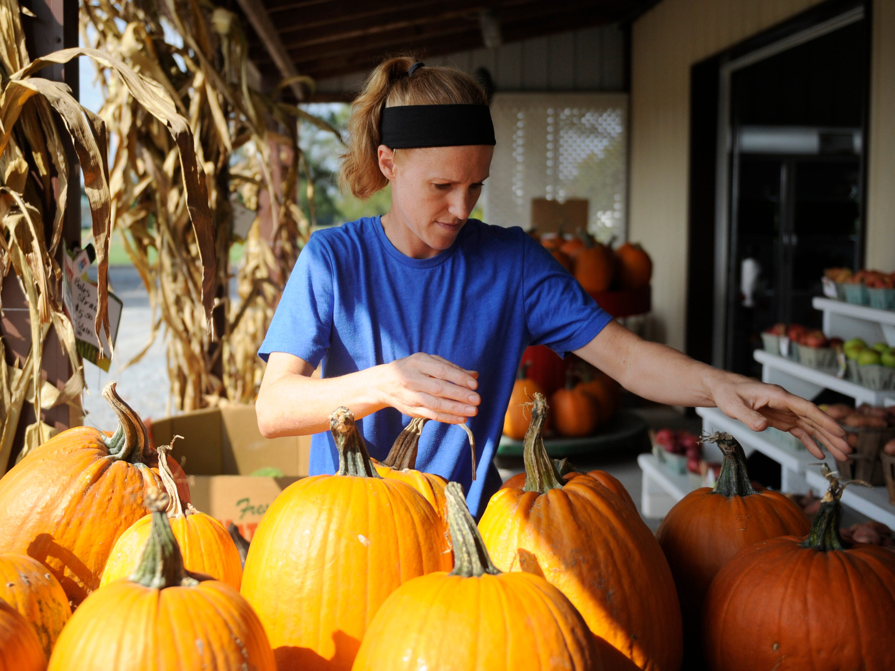 Dena Cifaloglio, market manager at Muzzarelli Farms, sorts out pumpkins on display at the East Oak Road location on Thursday, October 4, 2018.